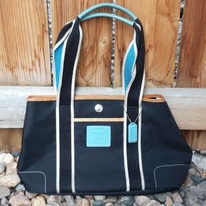 Coach hamptons shoulder bag black blue nylon tote